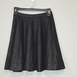 Express fit and flare black metallic skirt
